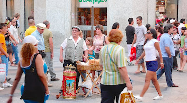 Barquillero en la calle Preciados de Madrid