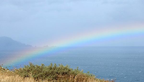 Arco iris en el faro de Estaca de Bares