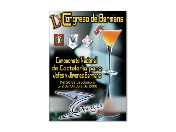 Cartel del LV Congreso Nacional de Barmans en Galicia