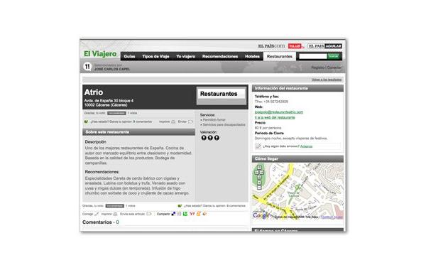 Web de El Viajero