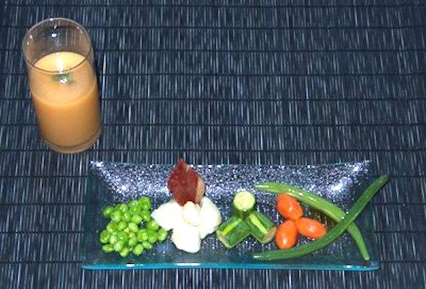 Menestra de verduras con su chupito, al aroma de ibérico