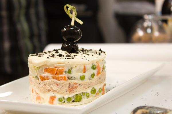 Pastel de ensaladilla, salmón y Bimbo - Rosa de Velocidad Cuchara