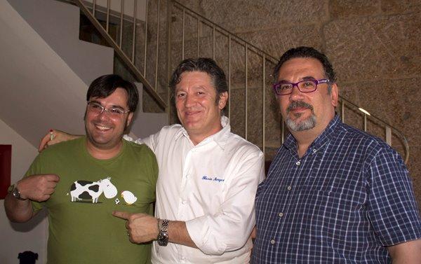 Alfonso, Flavio Morganti y yo en el Restaurante Galileo